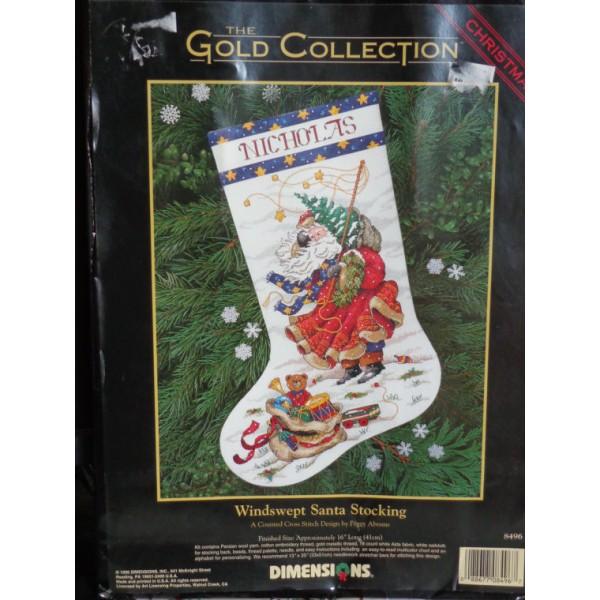 Dimensions Windswept Santa Stocking (Санта красный носок).8496 СШАНабор для вышивания Dimensions 8496 Windswept Santa Stocking (Санта красный носок)<br>
