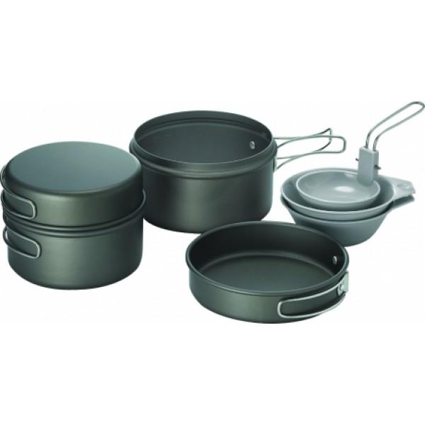 Набор посуды Kovea VKK-SOLO2SOLO 2 - набор легкой походной посуды из анодированного алюминия, рассчитанный на 2-3 человек. Набор состоит из двух котелков объемом 1.2 литра и 0.9 литра, 2х пиал и складного половника. Анодированный алюминий обладает повышенной теплопроводностью, в связи с чем пища готовится значительно быстрее. Материал так же показывает прекрасную устойчивость перед окислением, даже во время длительной эксплуатации.<br><br>Вес кг: 0.70000000