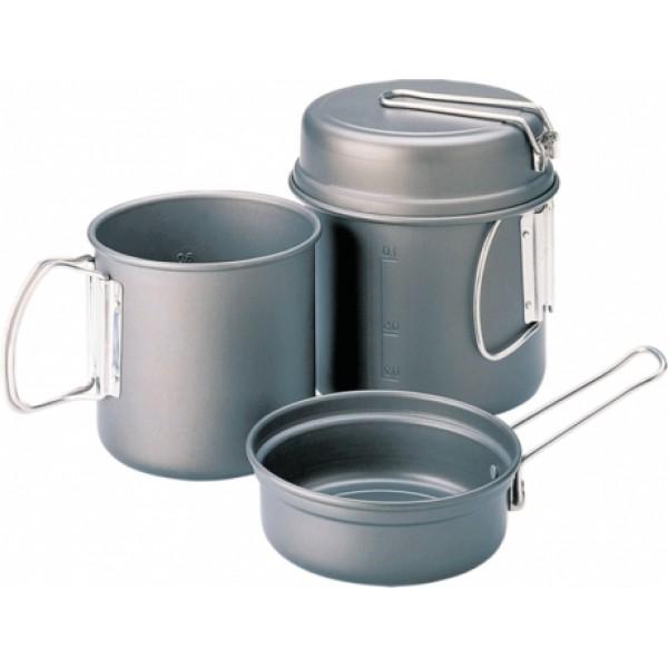 Набор посуды Kovea VKK-ES01Escape - индивидуальный набор легкой походной посуды из алюминия с холодным анодированием, рассчитанный на 1-2х человек. Набор состоит из двух котелков объемом 1 литр и 0.6 литра. Анодированный алюминий обладает повышенной теплопроводностью, в связи с чем пища готовится значительно быстрее. Материал так же показывает прекрасную устойчивость перед окислением, даже во время длительной эксплуатации.<br><br>Вес кг: 0.60000000