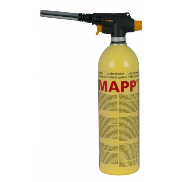 Резак газовый Kovea Auto KT-2904S резьба EUПрофессиональный газовый резак - имеет пьезоподжиг, тонкую регулировку мощности и эффективное вихревое пламя. Подключение газового резака к газовому баллону не требует сложного дополнительного оборудования. Работает от баллонов с европейским резьбовым стандартом MAPP EU, от баллонов с американским резьбовым стандартом MAPP US (необходим переходник Kovea VA-AD-0701 LPG adapter) и от цанговых баллонов Kovea KFG-220 (необходим переходник KA-9504), что позволяет работать с наиболее распространенным в профессиональных монтажных работах газовым оборудованием, а также с туристическими газовыми баллонами. Возможно применение смеси для получения пламени с температурами от 1300 до 2500 °С.<br><br>Вес кг: 0.20000000