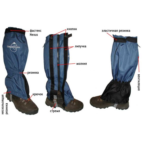 Снаряжение гамаши 45 смГамаши используют для защиты и утепления голени в походных условиях. Гамаши защищают ботинок от попадания влаги, мелких камешков, снега или грязи.<br><br><br>Верхняя часть гамаши надежно фиксируется на ноге (под коленом) за счет широкой эластичной резинки с застежкой-фастексом (Nexus), и кровообращение ноги не нарушается.<br><br>В области щиколотки гамаши собраны на резинку, что обеспечивает дополнительное (лучшее) прилегание к ноге.<br><br>Регулируемый ремешок (стремя) из синтетического материала притягивает гамашу к ботинку.<br><br>Спереди гамаши - крючок обеспечивает надежное крепление к шнуркам ботинка.<br><br>По нижнему краю гамаши, изнутри, пришита «нескользящая» резинка, которая обеспечивает плотное прилегание к ботинку.<br><br>Контактные зоны усилены накладками из Cordura<br><br>Сзади - вентиляция на молнии.<br><br>Застежка: боковая молния + Velcro («липучка») + две кнопки.<br><br>Вес кг: 0.50000000