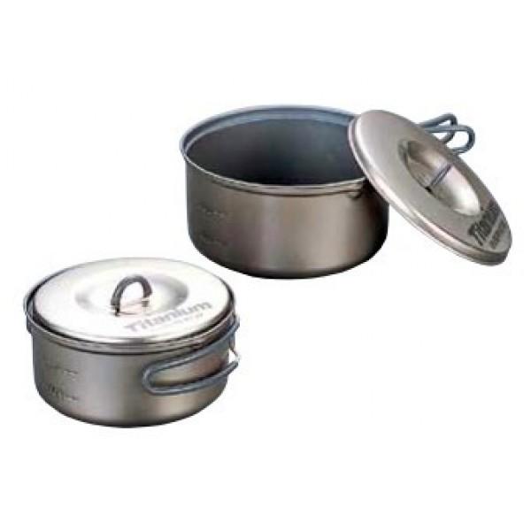 Набор кастрюль Non-Stick 0.6-0.9 Evernew eca 411Набор посуды Evernew ECA411 Ti Non-Stick Pot S Set, состоящий из двух широких кастрюль 0,6 и 0,9 л серии Non-Stick, из титана, с крышками. Кастрюли покрыты силиконовым покрытием снаружи и керамическим изнутри. Складные ручки покрыты огнеупорным силиконом. Набор можно логично и компактно дополнить другими предметами Evernew или собрать на его основе набор, актуальный для любого запроса.<br><br>Вес кг: 0.30000000