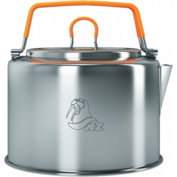 Чайник 1,2л NZ SK-150 (нерж.)Легкий чайник N.Z., имеет складные ручки, покрытые не нагревающимся пластиком, специальная форма носика препятствует разбрызгиванию воды, отличный дизайн. Чайник сделан из тонкостенной нержавеющей стали.<br><br>Вес кг: 0.40000000
