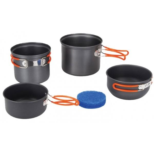 Набор посуды Tramp TRC-075котелок 1,3 л со складными ручками и крышкой сковородой<br><br>котелок 0,9 л со складными ручками и крышкой сковородой<br><br>губка для мытья посуды<br><br>Вес кг: 0.50000000