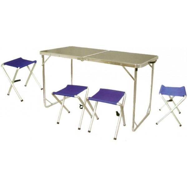 Набор мебели Tramp TRF-005 в кейсеГлавными достоинствами Tramp TRF-005 являются небольшой вес и простая, но надежная конструкция. Эта походная мебель отлично послужит в условиях кемпинга, а также может быть использована в качестве мебели для дачи. Набор состоит из большого обеденного стола с габаритами 124 х 62 х 70 см и четырех раскладных стульев с X-образным каркасом.<br><br>Вес кг: 7.00000000