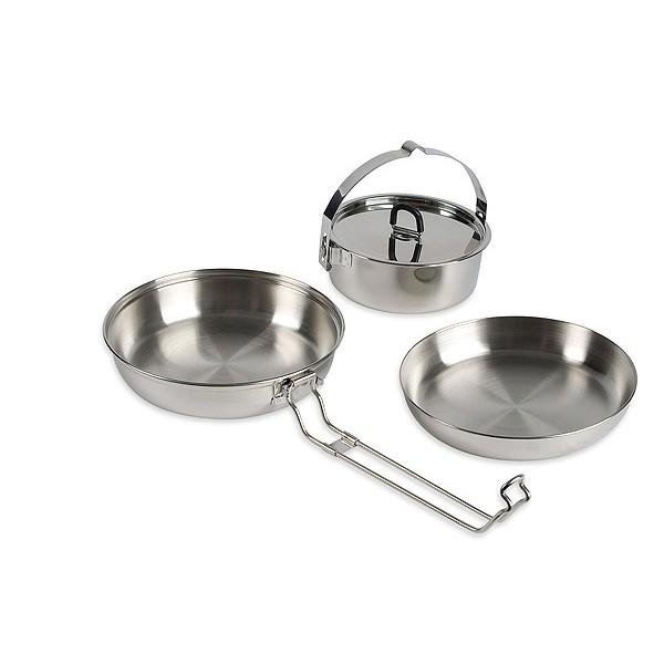 Набор посуды Tatonka Cookset RegularНабор посуды 3 предмета из нержавеющей стали. Состоит из :<br><br><br>кастрюля с крышкой 16х9 см 300 г, 1,3л;<br><br>кастрюля с крышкой 14.5х8см, 250 г, 0,9;<br><br>миска/сковородка 16.5х3 см, 155 г.;<br><br><br>Упакован в сетчатый мешочек.<br><br>Вес кг: 0.80000000