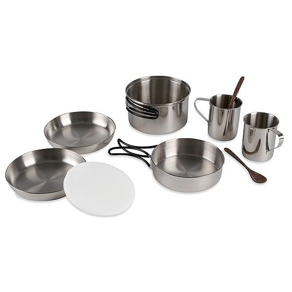 Набор посуды Tatonka Picnic SetНабор посуды - все, что нужно для пикника. Складывается по принципу Матрешки. Состоит из :<br><br><br>кастрюля 1.3 л, 16х9 см, 285 г,<br><br>сковорода 15.5х4.3 см, 155 г,<br><br>2 тарелки 16.5х3 см, 100 г,<br><br>2 чашки 0.25 л, 95 г,<br><br>2 чайные ложки<br><br>разделочная дощечка (ПЭ)<br><br><br>Упакован в практичную сумку для транспортировки.<br><br>Вес кг: 1.00000000