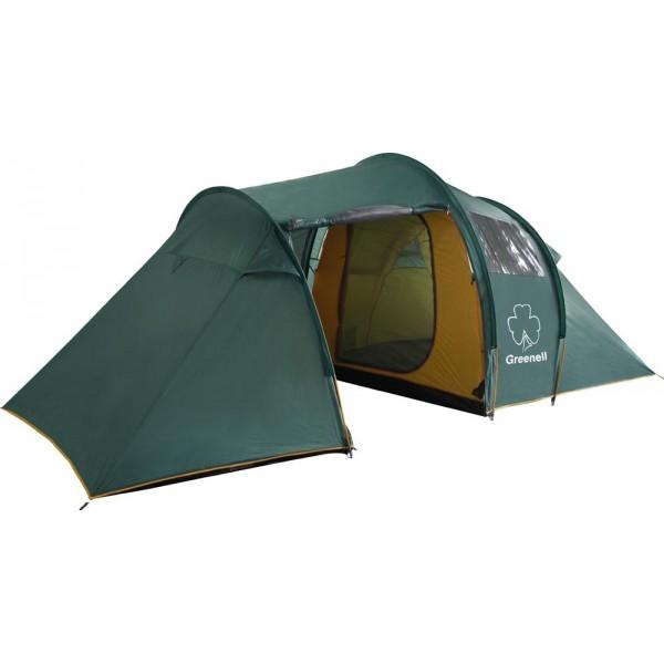 Палатка Greenell Арди 4/5 кемпинговаяКемпинговая палатка Арди 4/5 Greenell отлично подойдет для выездов на пикник всей семьей, вечеринок на открытом воздухе. Большой внутренний объем позволяет разместиться внутри с максимальным комфортом и подомашнему уютно. Перед входом можно установить козырек, защищающий от дождя и палящего солнца. Фиберглассовые дуги отличаются высокой ветроустойчивостью, не боятся резких температурных перепадов. По всему периметру проходит ветрозащитная юбка, не оставляющая холодному воздуху ни единого шанса проникнуть вовнутрь. Эффективная система вентиляции представлена несколькими большими окнами, пропускающими достаточное для нормальной жизнедеятельности количество свежего воздуха. Палатка Арди 4/5 выполнена в форме полубочки. Внутренняя палатка сшита из дышащего светлого материала, который наполняет изделие светом даже в пасмурный день. Такая палатка удобна в установке, обладает большим полезным пространством, позволяет выпрямиться в полный рост, не требует много времени и сил на установку. Дно из плотного полиэтилена делает возможным установку палатки на влажный грунт.<br><br>Вес кг: 11.60000000