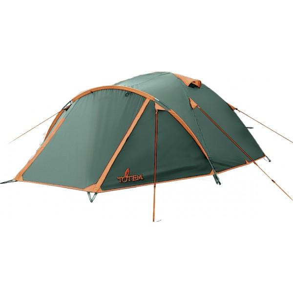"""Палатка Totem Chinook 4 трекинговаяБюджетная, вместительная, легкая палатка для летних выездов на природу. Служит защитой от жары за счет светлого тента. Один из двух тамбуров на дополнительной дуге, с двумя молниями, довольно вместительный. В тамбуре туристической палатки Totem Chinook можно разместить рюкзаки, обувь и пользоваться горелкой во время непогоды. Легкая сборка, благодаря системе клипс: внутренняя палатка крепится к дугам, над тамбуром в тент продевается дополнительная дуга, затем при помощи колышков натягивается тент. Возможна установка без растяжек.<br><br>Конструкция - обтекаемая """"полусфера"""", легкая в установке на любой местности и неприхотливая в эксплуатации. Устойчивая, за счет дополнительной внешней дуги тамбура. Два входа с двумя тамбурами. С комфортом вмещает четверых.<br><br>Тент – светлый, устойчивый к растяжению, с двумя складными вентиляционными окнами. Обработан составом для поглощения UF лучей и пропиткой, предотвращающей распространение огня. Оборудован растяжками с вплетением светоотражающей нити и проклеенными швами.<br><br>Внутренняя палатка – 100% дышащий полиэстер, два больших вентиляционных окна, удобные, вместительные карманы. Входы D-образные, на качественных двухзамковых молниях с возможностью открывания в одно касание даже с занятыми руками. Оба входа продублированы москитной сеткой.<br><br>Дно – устойчивый к износу терпаулинг.<br><br>Каркас– несложная конструкция из двух перекрещивающихся фиберглассовых дуг, с дополнительной дугой для тамбура.<br><br>Вес кг: 3.20000000"""