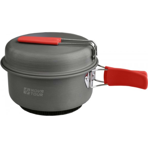 Кастрюля Nova Tour Инферно с крышкой-сковородкой 1,7лУниверсальная кастрюля 3 в одном. Объемом 1,7л с радиаторным кольцом на дне, которое позволяет экономить до 50% топлива и уменьшить время приготовления пищи. Наличие складной ручки добавляет удобства при использовании, и не увеличивает объем занимаемый кастрюлей при траспортировки. Крышка-сковорода Готовить на костре нельзя, посуда Инферно предназначена только для горелок.<br>