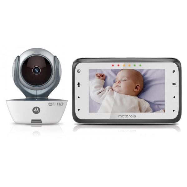 Видеоняня Motorola MBP854 Connect Wi-FiMotorola MBP 854 Connect - гарант безопасности вашего малыша. Эта компактная видеоняня позволит вам следить за своим чадом, где бы вы не находились, с помощью привычного родительского блока, размер экрана которого составляет 4,3 дюйма.<br><br>Встроенный модуль беспроводной сети Wi-Fi позволяет смотреть видео в формате HD 720p в режиме реального времени через всемирную сеть Интернет. Удаленно вы можете корректировать угол наклона камеры, сохранять видеозаписи и фотографии, получать уведомления, когда сработает датчик звука или движения, использовать функцию обратной связи, включать колыбельную и т.п.<br><br>Управление устройством осуществляется через бесплатные мобильные приложения, доступные для устройств на базе iOS, Android или через онлайн-портал Hubble Connected. Функция инфракрасного видения позволит вам присматривать за малышом даже в условиях плохой освещенности.<br>