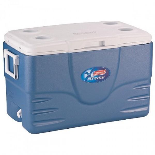 Контейнер изотермический Coleman 52QT Xtreme Cooler BlueИзотермические контейнеры Xtreme® 6 Day coolers: объем: 50 л; прочный пластиковый корпус; 5 см термоизоляция сохраняет лед до 6 дней  с аккумуляторами холода Freez Pack®; удобные ручки для транспортировки; клапан для слива конденсата; вес: 5,8 кг<br><br>Вес кг: 5.80000000