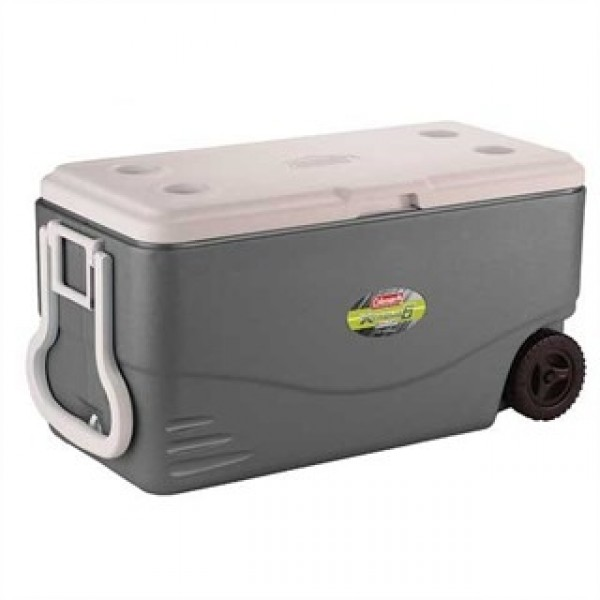 Контейнер изотермический Coleman 82QT Xtreme WHEELED COOLER серыйИзотермический контейнер Xtreme® 6 Day артикул производителя 3000001146: объем: 80 л; прочный пластиковый корпус; 5 см термоизоляция сохраняет лед до 6 дней с аккумуляторами холода Freez Pack®; удобная ручка и колеса для удобства транспортировки; клапан для слива конденсата<br>