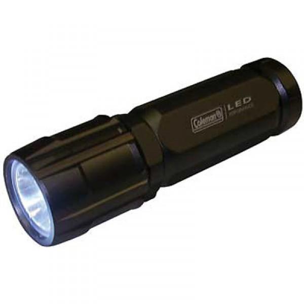 Coleman High Power Aluminum LED FlashlightАдюминиевый водонепроницаемый фонарик. Световой поток: 150 лм. Дальность: 134 м. Время работы: 6 ч. Работает от 3-х батареек типа AAA (входят в комплект). Вес: 146 гр. с батарейками и 113 гр. без.<br><br>Вес кг: 0.20000000