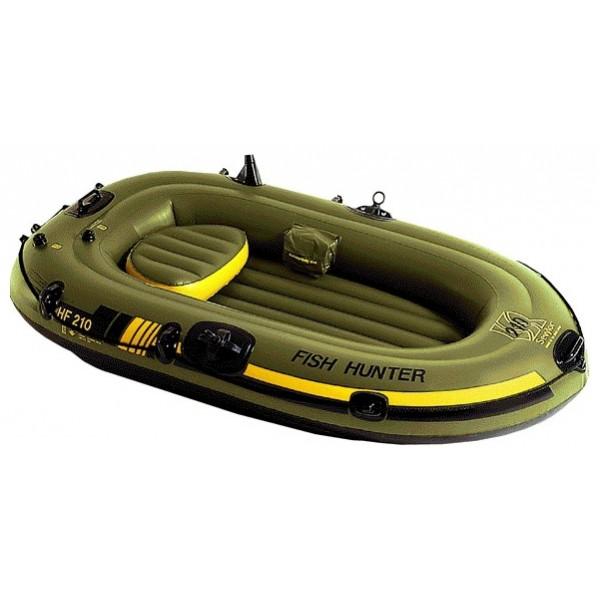 Лодка надувная Sevylor HF210 Fish hunterНадувная лодка Fish Hunter 210 из прочного ПВХ (толщина материала 0,7мм). Количество воздушных камер –3, грузоподъемность 140 кг. Надувное сидение. Дренаж для слива воды. Максимальное количество мест 2 человека (взрослый+ребенок). Размеры - 200 см х 110 см., вес 6,4 кг.<br><br>Вес кг: 6.40000000