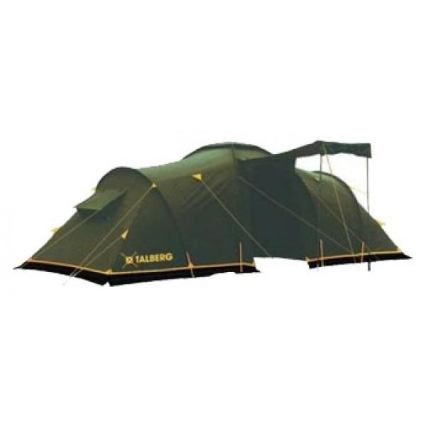 Палатка Talberg Base 4 кемпинговаякемпинговая палатка, 4-местная, внешний каркас, дуги из стеклопластика, 2 входа / 2 комнаты, высокая водостойкость, вес: 12 кг<br><br>Просторная четырехместная кемпинговая палатка с двумя спальными отделениями, большим удобным тамбуром и ветрозащитной юбкой.&amp;nbsp;<br><br>На входе в тамбур антимоскитная сетка<br><br>Вес кг: 12.10000000