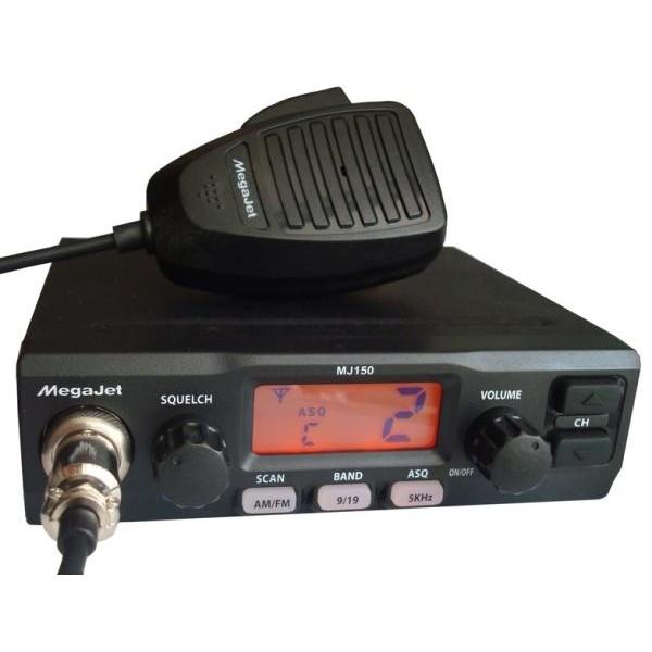 Радиостанция Megajet MJ-150 автомобильнаяАвтомобильная радиостанция Megajet MJ-150 предназначена для работы в Си-Би (27 МГц) диапазоне. Имеет два крупных регулятора громкости и порогового шумоподавителя. Память радиостанции энергонезависима.<br><br>Вес кг: 1.40000000