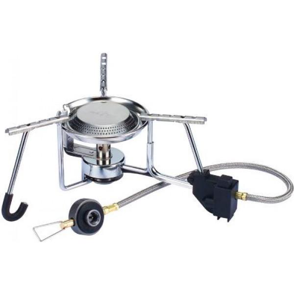 Горелка газовая Kovea KB-N9602Благодаря мощному и широкому стальному каркасу, на газовую горелку можно поставить даже ведро с водой. Широкие лапки конфорки позволяют ставить на газовую горелку посуду большого объема<br><br>Вес кг: 0.60000000