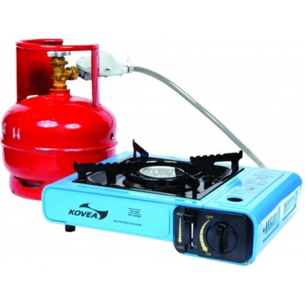 Плитка газовая Kovea TKR-9507-P универсальнаяГазовая плита одноконфорочная портативная газовая плитка с пьезоподжигом, сочетающая в себе возможность работы как от цангового газового баллона, который помещается внутри газовой плиты, так и от российского пропанового баллона 5–50 литров, который подсоединяется к плите шлангом.<br><br>Вес кг: 1.80000000