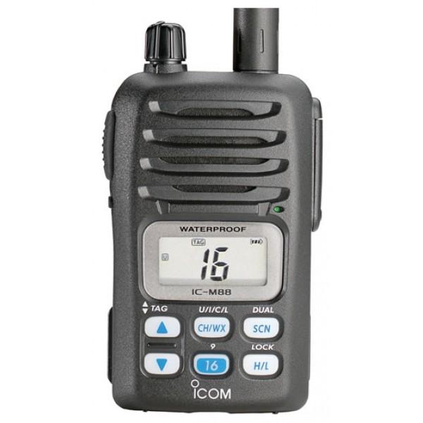 Радиостанция Icom IC-M88 UL взрывозащищенная версиярация VHF/Морская, диапазон частот 156.05-163.275 МГц, 146-174 МГц, мощность передатчика 5 Вт, питание Li-Ion-аккумулятор, вес 280 г, количество каналов 79, поддержка кодирования CTCSS, DCS<br><br>Вес кг: 0.30000000