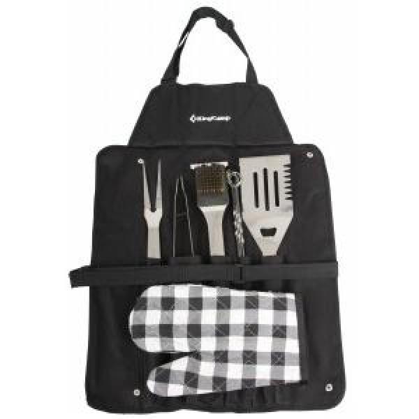 Набор для барбекю KingCamp BBQ tool SET на 12 предметовKingCamp BBQ Tool Set KG2727 помимо столовых принадлежностей обогащен рукавицей и фартуком<br>