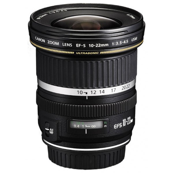 Объектив Canon EF-S 10-22mm f/3.5-4.5 USMCanon EF-S 10-22 f/3.5-4.5 USM широкоугольный Zoom-объектив, крепление Canon EF-S, для неполнокадровых фотоаппаратов, автоматическая фокусировка, минимальное расстояние фокусировки 0.24 м, размеры (DхL): 83.5x89.8 мм, вес: 385 г<br><br>Вес кг: 0.40000000