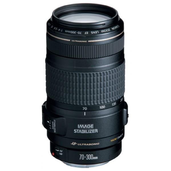 Объектив Canon EF 70-300mm f/4-5.6 IS USMZoom-телеобъектив, крепление Canon EF и EF-S, встроенный стабилизатор изображения, автоматическая фокусировка, минимальное расстояние фокусировки 1.5 м, размеры (DхL): 76.5x142.8 мм, вес: 630 г<br><br>Вес кг: 0.70000000