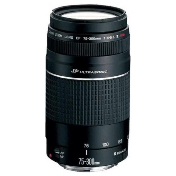 Объектив Canon EF 75-300mm f/4-5.6 III USMZoom-телеобъектив, крепление Canon EF и EF-S, автоматическая фокусировка, минимальное расстояние фокусировки 1.5 м, размеры (DхL): 71x122 мм, вес: 480 г<br><br>Вес кг: 0.60000000