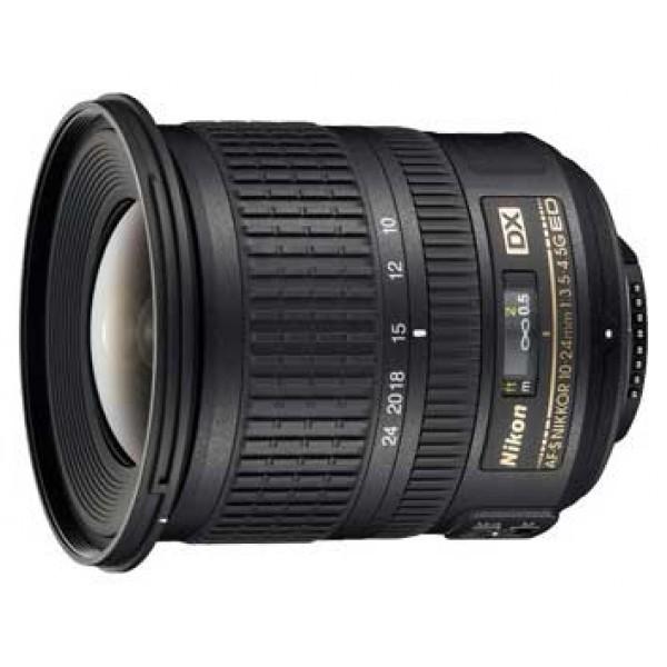Объектив Nikon 10-24mm f/3.5-4.5G ED AF-S DX Nikkorширокоугольный Zoom-объектив, крепление Nikon F, для неполнокадровых фотоаппаратов, автоматическая фокусировка, минимальное расстояние фокусировки 0.24 м, размеры (DхL): 82.5x87 мм, вес: 460 г<br><br>Вес кг: 0.50000000