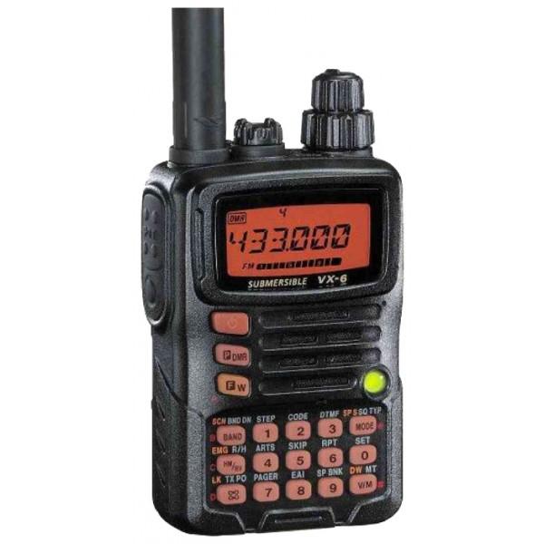 Радиостанция Yaesu VX-6Rрация VHF/UHF, мощность передатчика 5 Вт, питание Li-Ion-аккумулятор, вес 270 г, количество каналов 1000, кодирование CTCSS, DCS, DTMF, подключение гарнитуры<br><br>Вес кг: 0.30000000