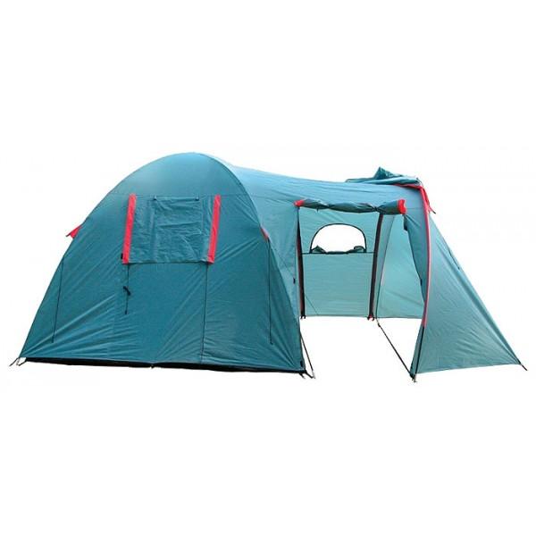 Палатка Tramp ANACONDA кемпинговаяВ этой двухслойной кемпинговой палатке без труда разместятся 4 взрослых человека. Для удобства проживания она оборудована четырьмя отдельными входами и большим тамбуром, в котором можно сложить вещи. А можно установить столик и стулья и не бояться, что ужину помешает внезапный дождь. Входы в спальни оснащены противомоскитными сетками, и вы сможете не волноваться, что ваш сон нарушат лесные мошки и комары.<br><br>В спальном отделении палатки с комфортом разместятся четыре человека. Все мелочи найдут свои места в карманах, которые есть как на стенках внутренней палатки, так и под потолком. Крючок под куполом послужит креплением для фонарика.<br><br>Вход в комнату предусмотрен как из тамбура, так и непосредственно с улицы, а D-образная конструкция дверей и специальные молнии One-Touch позволят довольно легко открыть их даже с занятыми руками. В комнате высотой 170 см. удобно обустраиваться и переодеваться стоя в полный рост.Качественное проветривание обеспечивают легкий дышащий материал, из которого выполнена палатка, два больших вентиляционных окна и два входа, продублированных москитной сеткой. Пол спального отделения выполнен из армированного полиэтилена (терпаулинга) и устойчив к истиранию.<br><br>Тент палатки влагостойкий, с вентиляцией и окнами, обработан специальным составом, поглощающим ультрафиолетовые лучи, благодаря чему палатка практически не нагревается под палящим солнцем. Окна тента, в зависимости от погодных условий, можно открывать целиком, частично, или вовсе плотно закрыть в непогоду. Специальная пропитка, задерживающая распространение огня - залог безопасного соседства с костром. По нижней кромке тента пришита «юбка», которая препятствует попаданию воды и сквозняка к спальному отделению.<br><br>Для надежной влагоустойчивости все швы тента и остальных частей палатки проклеены термоусадочной лентойРегулируемая длина оттяжек и вплетение из световозвращающей нити - это залог устойчивости палатки на земле, а вас в темнот