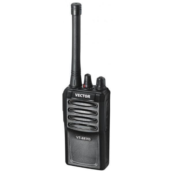 Радиостанция Vector VT-44 HSПортативная рация Vector VT-44 HS отличается простотой в обращении, надежностью и фунциональностью. Корпус рации специально разработан с учетом того, чтобы рация была устойчива к неблагоприятным условиям окружающей среды, а так же различным видам механических повреждений. Рация LPD/PMR, диапазон частот 433.075-434.755 МГц, 446.006-446.094 МГц, мощность передатчика 5 Вт, питание Li-Ion-аккумулятор, количество каналов 16, поддержка кодирования CTCSS<br>