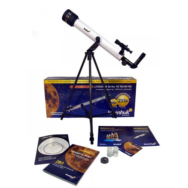 Телескоп Levenhuk Strike 50 NGLevenhuk Strike 50 NG – небольшой рефрактор на азимутальной монтировке – это хороший подарок для любознательного ребенка, которого привлекает ночное небо. Простой в обращении и надежный, с интуитивно понятным управлением, пригодный для наблюдения за космическими объектами Солнечной Системы и других галактик, он не вызовет сложностей даже у тех, кто видит телескоп в первый раз в жизни. Вы сможете своими глазами увидеть множество кратеров на Луне, убедиться в наличии колец Сатурна, облачных полос и спутников Юпитера, увидеть, что Млечный Путь на самом деле состоит из множества отдельных звезд и сделать для себя другие удивительные открытия.<br>