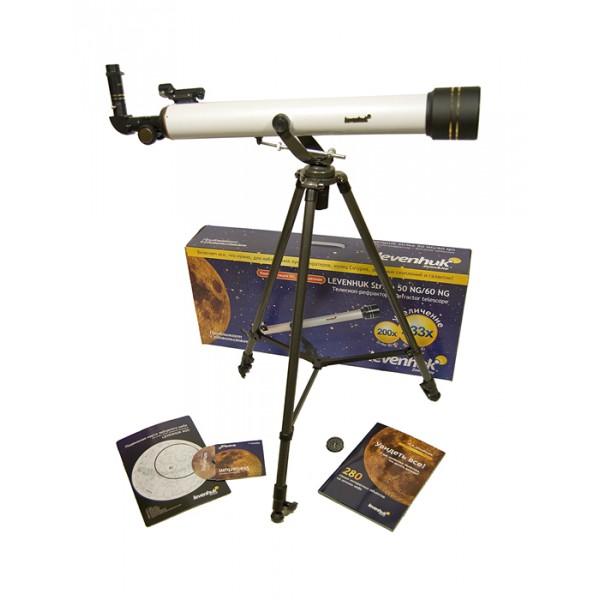 Телескоп Levenhuk Strike 60 NGТелескоп Levenhuk Strike 60 NG – небольшой и простой в управлении рефрактор на азимутальной монтировке – это то, что необходимо любому начинающему любителю астрономии. Такой телескоп позволяет увидеть намного больше, чем можно рассмотреть невооруженным глазом, в то же время он легок, не занимает много места при хранении и транспортировке и отличается доступной ценой. Подробная инструкция на русском языке поможет разобраться с телескопом даже тем, кто первый раз видит такой прибор, а богатая комплектация телескопов серии Levenhuk Strike не имеет себе равных.<br>