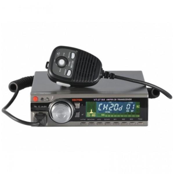 Радиостанция Vector VT-27 NAVIGATOR АвтоНовая модель автомобильной радиостанции Vector VT-27 Navigator работающей в Си-Би диапазоне выделяется среди линейки своих собратьев большим цветным высоконтрастным дисплеем и цельнолитой задней частью шасси с радиатором охлаждения транзисторов выходного каскада.<br><br>Вес кг: 0.90000000