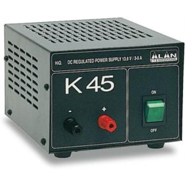 Блок питания Alan K-45 13,8В 4АБлок питания Alan K-45 трансформаторный. Входное напряжение AC 210-230 Вольт. Выходное стабилизированное напряжение у Алан 45 13,8 Вольт. Ток номинальный 4 Ампер, максимальный 6 Ампер. У Alam k45 имеется защита от короткого замыкания и от перегрева. Блок питания Алан 45 имеет добротный прочный корпус. Лаконичный дизайн является его достоинством. Ничего лишнего. Лампочка выключателя в темноте светится успокаивающим зеленым цветом. Подходящий вариант для стационарного использования.<br><br>Вес кг: 2.70000000