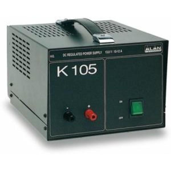 Блок питания Alan K-105 13,8В 10АБлок питания Alan K-105 трансформаторный. Входное напряжение AC 210-230 Вольт. Выходное стабилизированное напряжение у Алан 105 13,8 Вольт. Ток номинальный 10 Ампер, максимальный 12 Ампер. У Alam k105 имеется защита от короткого замыкания и от перегрева. Блок питания Алан 105 имеет добротный прочный корпус. Лаконичный дизайн является его достоинством. Ничего лишнего. Лампочка выключателя в темноте светится успокаивающим зеленым цветом. Подходящий вариант для стационарного использования.<br><br>Вес кг: 6.90000000