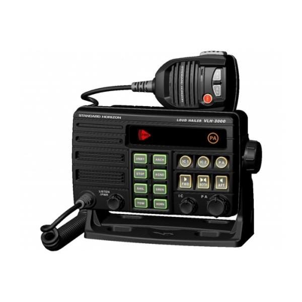 Мегафон Standard Horizon VLH-3000 Cудовой морскойМорской мегафон применяется для усиление звука и обратного прослушивание. Подает сигнал на мощный излучатель, а также принимает обратные сигналы, пришедшие от него же. Имеется автоматическая сигнализация используемая для подачи сигналов тревоги близлежащим судам, или для указания положения судна. Микрофон с шумоподавителем, Возможность подключить два интеркома MLS-300i. Совместим:240SW, MLS300i. Стандарт соответствия - IPX 7<br>