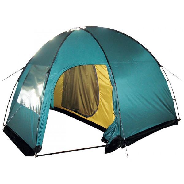 Палатка Tramp BELL 3 кемпинговаяВ спальном отделении палатки Tramp BELL 3 с комфортом разместятся три человека. Все мелочи найдут свои места в карманах, которые есть как на стенках внутренней палатки, так и под потолком. Крючок под куполом послужит креплением для фонарика. D-образная конструкция дверей и специальные молнии One-Touch позволят довольно легко открывать их даже с занятыми руками. В комнате высотой 170 см. удобно обустраиваться и переодеваться стоя в полный рост. Качественное проветривание обеспечивают легкий дышащий материал, из которого выполнена палатка, два больших вентиляционных окна и два входа, продублированных москитной сеткой. Пол спального отделения выполнен из армированного полиэтилена (терпаулинга) и устойчив к истиранию.<br><br>Тент палатки влагостойкий, с вентиляцией и окнами, обработан специальным составом, поглощающим ультрафиолетовые лучи, благодаря чему палатка практически не нагревается под палящим солнцем. Окна тента, в зависимости от погодных условий, можно открывать целиком, частично, или вовсе плотно закрыть в непогоду. Специальная пропитка, задерживающая распространение огня - залог безопасного соседства с костром. По нижней кромке тента пришита «юбка», которая препятствует попаданию воды и сквозняка к спальному отделению. Для надежной влагоустойчивости все швы тента и остальных частей палатки проклеены термоусадочной лентой Регулируемая длина оттяжек и вплетение из световозвращающей нити - это залог устойчивости палатки на земле, а вас в темноте на ногах. Крепятся к земле при помощи крепких металлических колышек.<br><br>Во вместительном, высоком тамбуре Вы свободно разместите склад вещей, а в крайнем случае и дополнительные спальные места. Наличие москитной сетки на двух входах в тамбур поможет избежать нежелательных гостей. При желании, помещение тамбура можно застелить съемным полом из терпаулинга.<br><br>Особенность сборки этой палатки в конструкции с наружным каркасом. В первую очередь устанавливается тент, после чего внутрен