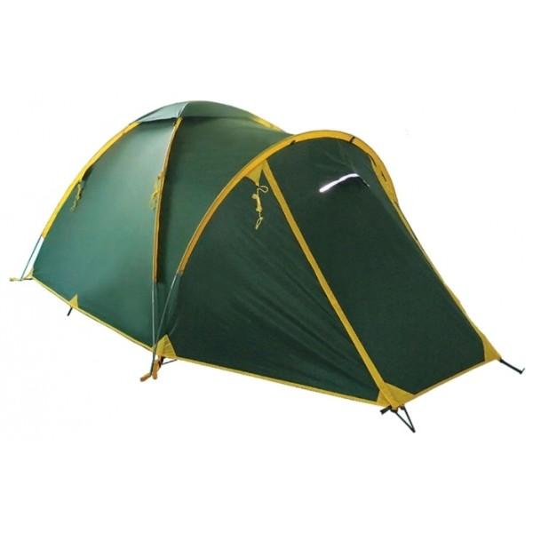 """Палатка Tramp SPACE 3 трекинговаяПалатки Tramp SPACE 3 с внешним каркасом, возможна установка без внутренней палатки. Один из двух тамбуров на дополнительной дуге, с двумя молниями, довольно вместительный. В тамбуре туристической палатки Tramp Spase 3 можно разместить рюкзаки, обувь и пользоваться горелкой во время непогоды. Легкая сборка - дуги продеваются в тент, после чего изнутри на крючки подвешивается внутренняя палатка. Возможна установка без растяжек. Подойдет для длительной экспедиции в сложных погодных условиях.<br><br>Конструкция - обтекаемая """"полусфера"""", легкая в установке на любой местности и неприхотливая в эксплуатации. Устойчивая, за счет дополнительной внешней дуги тамбура. Два входа с двумя тамбурами. С комфортом вмещает три человека, но, при необходимости, можно разместить четверых.<br><br>Тент – водонепроницаемый, устойчивый к растяжению, с двумя складными вентиляционными окнами. Обработан составом для поглощения UF лучей и пропиткой, предотвращающей распространение огня. Оборудован растяжками с вплетением светоотражающей нити и проклеенными швами.<br><br>Внутренняя палатка – 100% дышащий полиэстер, два больших вентиляционных окна, удобные, увеличеные карманы, подвесной карман-полка под потолком с креплением для фонарика. Входы D-образные, на качественных двухзамковых молниях с возможностью открывания в одно касание даже с занятыми руками. Оба входа продублированы москитной сеткой.<br><br>Дно – полиэстер с высоким показателем водонепроницаемости, загибается по краям вверх для большей влагоустойчивости.<br><br>Каркас– дюрапол (фибергласс, армированный для прочности проволокой). Несложная конструкция из двух перекрещивающихся дуг, с дополнительной дугой для тамбура.<br><br>Вес кг: 5.20000000"""