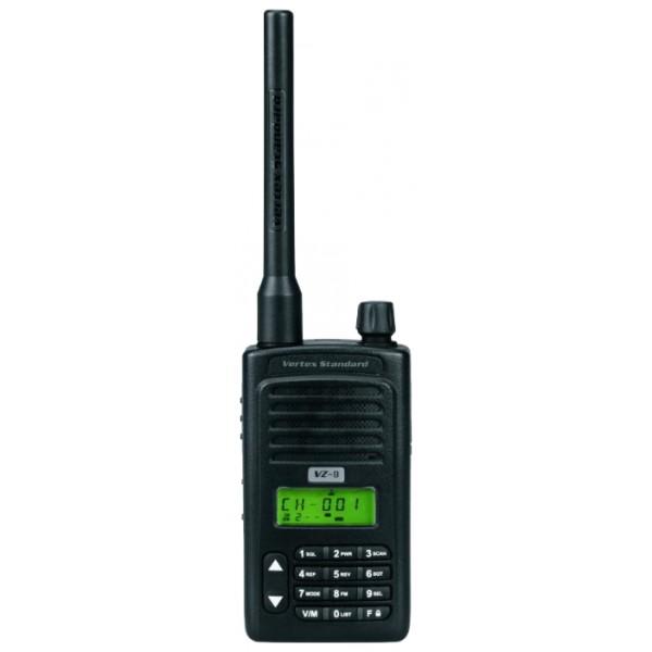 Радиостанция Vertex VZ-9Стандартная комлектация (может быть изменена производителем без предварительного уведомления) Радиостанция, антенна (съемная), аккумулятор, поясной зажим, настольное устройство быстрой зарядки (заряд АКБ занимает около 4-х часов)<br><br>Вес кг: 0.30000000