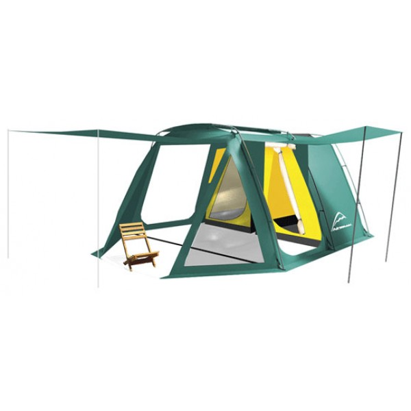 Палатка Normal Карелия 6Назначение: Кемпинг, семейный отдых, длительные стоянки. Особенности: Комфортная и просторная палатка высотой в полный рост. // Двухслойная аркада с подвесной внутренней палаткой, жёсткий арочный каркас. // Конструкция данной модели позволяет использовать тент без внутренней палатки. // Очень большой тамбур, оснащенный тремя входами. // Палатка оснащена системой купольной вентиляции. // Боковые и подвесной карманы из сетки. // Прозрачные окна в тамбуре, закрывающиеся шторами. // Наружная ветрозащитная юбка по всему периметру тента. Конструкция: Двухслойная аркада с подвесными внутренними палатками, жесткий арочный каркас.<br><br>Вес кг: 15.40000000