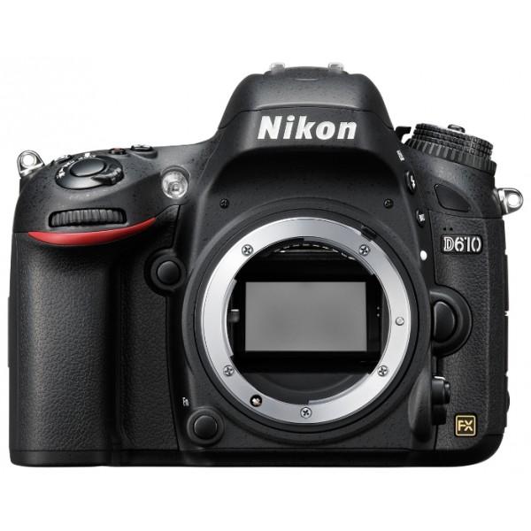 Фотоаппарат Nikon D610 Body зеркальныйПрофессиональная зеркальная фотокамера, поддержка сменных объективов с байонетом Nikon F, без объектива в комплекте, матрица 24.7 мегапикселов (35.9 x 24 мм), съемка видео разрешением до 1920x1080, экран 3.15 влагозащищенный корпус<br><br>Вес кг: 0.80000000