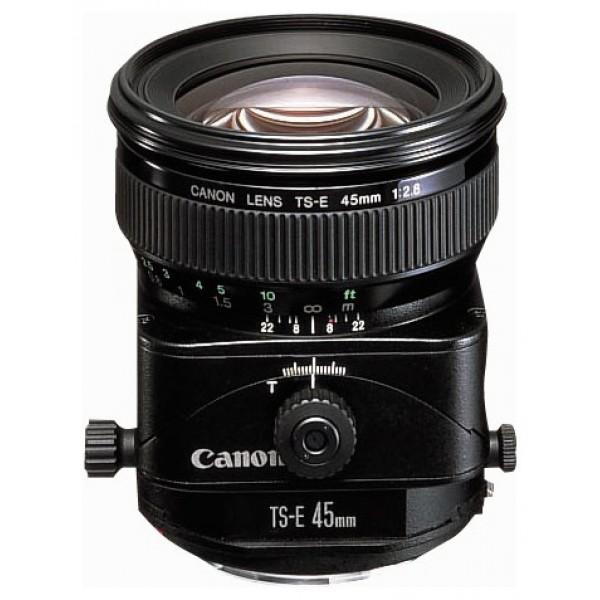 Объектив Canon TS-E 45mm f/2.8стандартный объектив с постоянным ФР, крепление Canon EF и EF-S, минимальное расстояние фокусировки 0.4 м, размеры (DхL): 81x90.1 мм, вес: 645 г<br><br>Вес кг: 0.70000000
