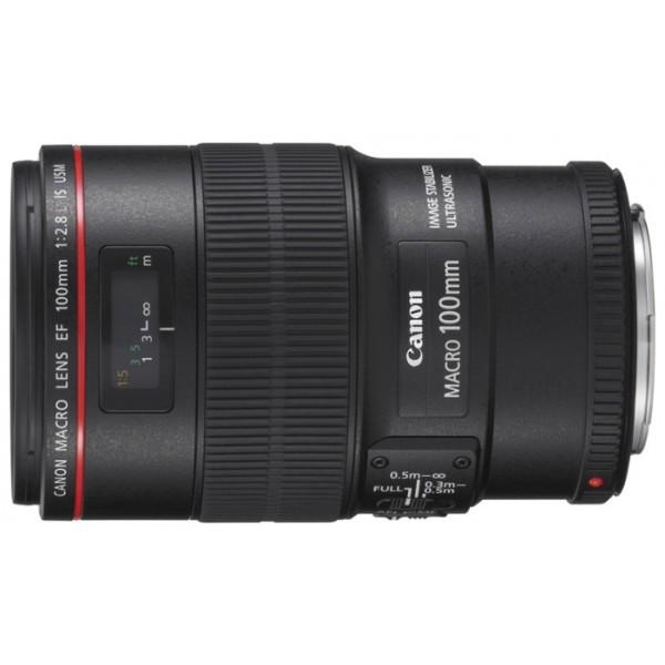 Объектив Canon EF 100mm f/2.8L Macro IS USMCanon EF 100 f/2.8L Macro IS USM макрообъектив с постоянным ФР, крепление Canon EF и EF-S, встроенный стабилизатор изображения, автоматическая фокусировка, минимальное расстояние фокусировки 0.3 м, размеры (DхL): 77.7x123 мм, вес: 625 г<br><br>Вес кг: 0.70000000