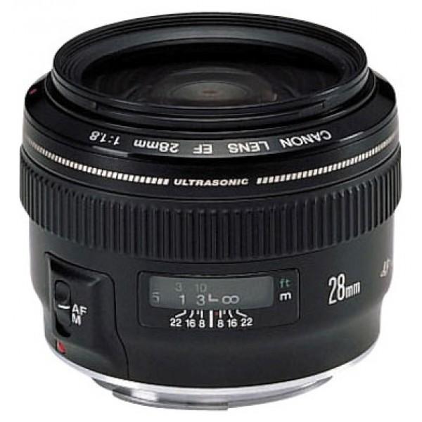 Объектив Canon EF 28mm f/1.8 USMширокоугольный объектив с постоянным ФР, крепление Canon EF и EF-S, автоматическая фокусировка, минимальное расстояние фокусировки 0.25 м, размеры (DхL): 73.6x55.6 мм, вес: 310 г<br><br>Вес кг: 0.40000000