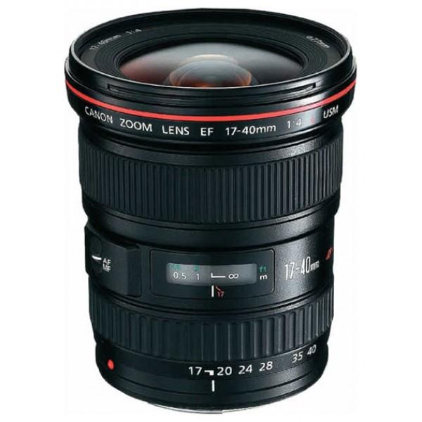 Объектив Canon EF 17-40mm F/4.0 L USMСверхширокоугольный профессиональный зум-объектив EF 17-40мм f/4.0L USM – новый высококачественный сверхширокоугольный зум-объектив. Новая модель имеет более широкий диапазон зумирования и постоянную максимальную диафрагму F4, а по скорости автофокусировки не уступает лучшему объективу этого класса EF 16-35мм f/2,8L USM.<br><br>Вес кг: 0.60000000