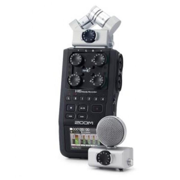 Рекордер Zoom H6Компактный рекордер со сменной микрофонной системой под названием H6 представила компания Zoom на международной выставке музыкального оборудования Musikmesse 2013. В комплекте имеются два микрофона, которые могут быть сняты для подключения двух дополнительных входных разъемов вместо них – таким образом, есть возможность производить запись сразу на 6 каналов. Данные сохраняются на SD-карту памяти.<br>