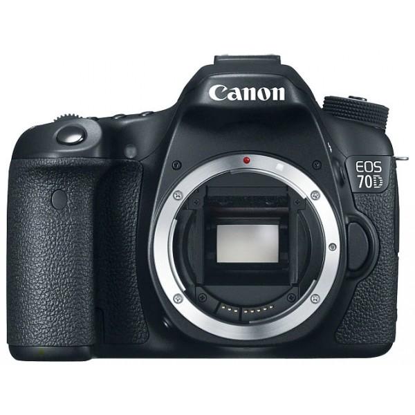Фотоаппарат Canon EOS 70D Body Зеркальныйпродвинутая зеркальная фотокамера, поддержка сменных объективов с байонетом Canon EF/EF-S, без объектива в комплекте, матрица 20.9 мегапикселов (22.5 x 15.0 мм), съемка видео разрешением до 1920x1080, поворотный сенсорный экран 3, Wi-Fi<br><br>Вес кг: 0.80000000