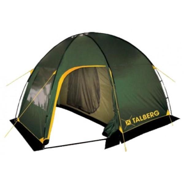 Палатка Talberg Bigless 4кемпинговая палатка, 4-местная, внешний каркас, дуги из стеклопластика, 2 входа / одна комната, высокая водостойкость, вес: 9 кг<br><br>Семейная четырехместная кемпинговая палатка с большим и удобным спальным отделением, вместительным тамбуром и ветрозащитной юбкой.<br><br>На входе в тамбур антимоскитная сетка<br><br>Вес кг: 9.00000000